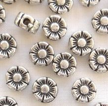 Silver Plated 6mm Round Flower Beads - 20